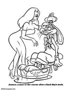 Jessica takes care of Roger Rabbit