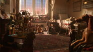Winnie the Pooh and his friends are all stuffed toy animals in Christopher Robin's bedroom