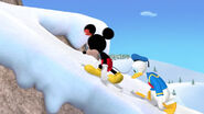 Mickey and donald walking exhausted