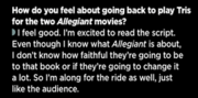 Shailene asked about allegiant in an interview