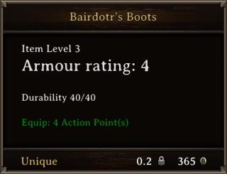 DOS Items Unique Bairdotr's Boots Stats