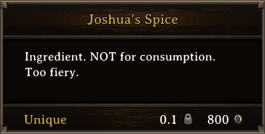 DOS Items Unique Joshua's Spice