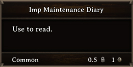 DOS Items Books Imp Maintenance Diary