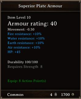 DOS Items CFTX 10.5 Superior Plate Armour