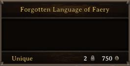 DOS Items Unique Forgotten Language Of Faery