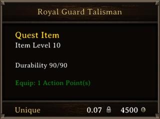 DOS Items Quest Royal Guard Talisman Stats