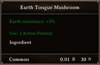 DOS Items Food Earth Tongue Mushroom Stats