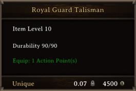 DOS Items Unique Royal Guard Talisman