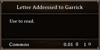 DOS Items Quest Letter Addressed to Garrick Stats