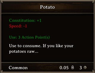 DOS Items Food Potato Stats