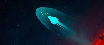 El pueblo Selatrop escapando con la nave Zinit