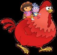 Dora the Explorer Big Red Chicken Character Walking