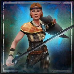 Promotional image of Aveline in <i>Heroes of Dragon Age</i>