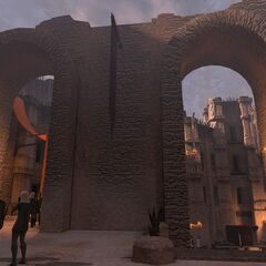 The same location in Act 2: Decrepit arches have been erected in the intervening three years.