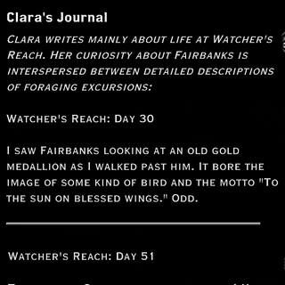 Clara's journal entries detailing her speculations on Fairbanks' lineage