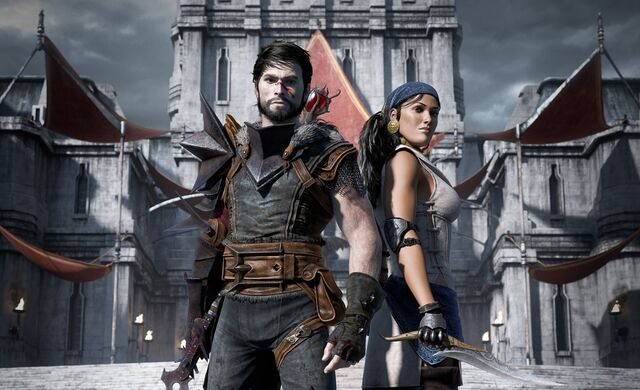 Archivo:Wallpaper Dragon Age 2 Hawke and Isabela.jpg