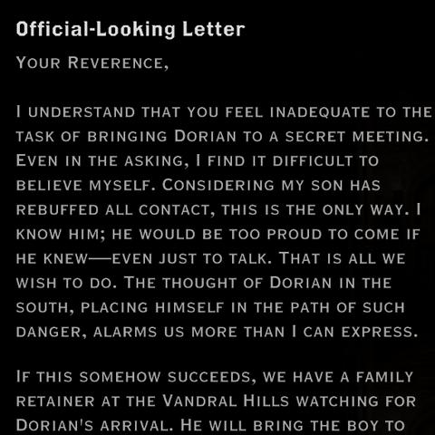Halward Pavus' letter to Mother Giselle regarding Dorian
