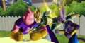 Vegeta grabs pudding from Buu