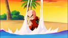 Krillin blasts an energy wave