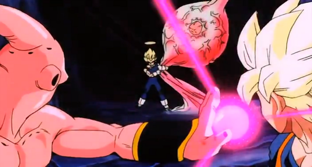File:Evil Kid Buu! - Vegeta distracts Buu.PNG