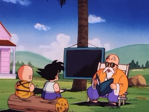 Image result for dragon ball master roshi teaching the boys reading
