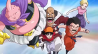 Majin Buu, Hercule Satan, Pan, GT Krillin (with Turtle School Gi) & Android 18, charging in the Dagon Ball Heroes' Budokai