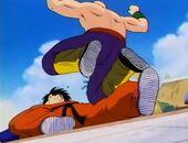 Tien breaks Yamcha's leg