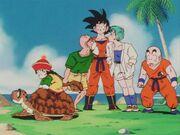 Goku,Roshi,KrillinAndGohanOnATurtle