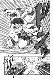 Yamcha charges at Roshi with his Wolf Fang Fist