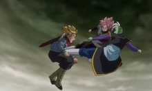 Future Zamasu and Goku Black fighting against Super Saiyan Rage Trunks.