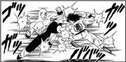 Tien and Yamcha battle