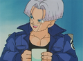 Trunks excitedely telling Bulma that Vegeta defended him in a battle