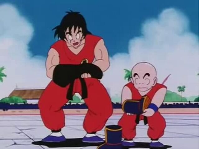 File:Yamcha And Krillin Lifts Goku's Weigtted T-Shirt And Boot.JPG