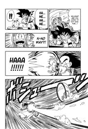Goku fires Kamehameha to propel the submarine
