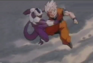 Cooler punchs goku in the gut