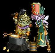 DQX - A male Dwarf and a male Elf Priest