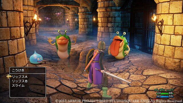 File:DQXI - Hero fighting monsters.jpg