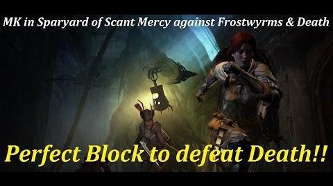 Dragon's Dogma Dark Arisen - MK vs. 2 Frostwyrms & Death in Sparyard of Scant Mercy, on Hard Mode.