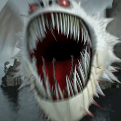 The Screaming Death roars as it chases Hiccup and Toothless.