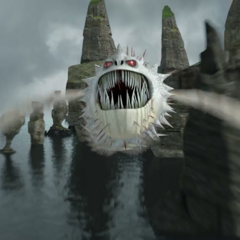 The Screaming Death chasing Hiccup and Toothless.