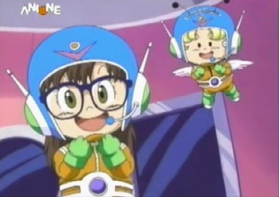 File:Arale and gatchan in spacesuit.JPG