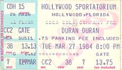 Ticket duran duran hollywood sportatorium hollywood florida march 27 1984