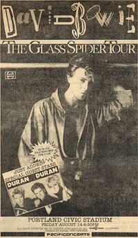 David Bowie Glass Spider Tour Ticket Flyer Promo Civic Stadium, Portland, OR, USA. wikipedia duran duran