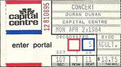 TICKET DURAN DURAN - Concert Ticket Stub CAPITAL CENTRE WIKIPEDIA