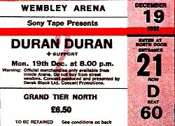TICKET DURAN DURAN 1983-12-19 ticket