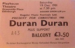 Duran duran band ticket stub Edinburgh Playhouse Edinburgh UK wikipedia