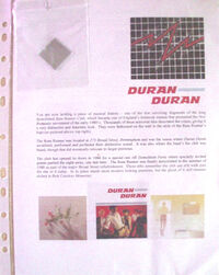 Duran Duran Mirrored Tile from the Rum Runner Club with Photos and History Flyer wikipedia birmingham broad street nightclub
