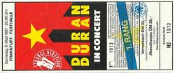 DURAN DURAN a ticket stub Eintrittskarte - Duran Duran - 9. Mai 1987 - Frankfurt - Festhalle