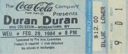 Duran duran band wikipedia ticket stub WVU Coliseum Morgantown West Virginia USA