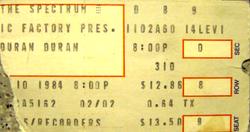 Ticket duran duran 10 february 1984